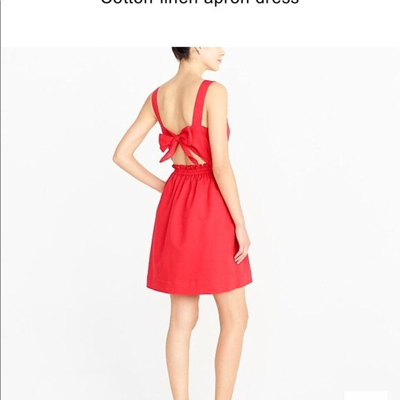 J. Crew Dresses & Skirts - JCrew red linen apron dress with tie back